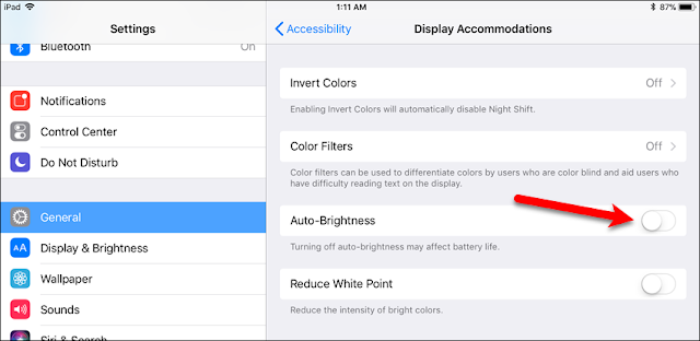 How to turn off auto brightness on ios 11 on iPhones