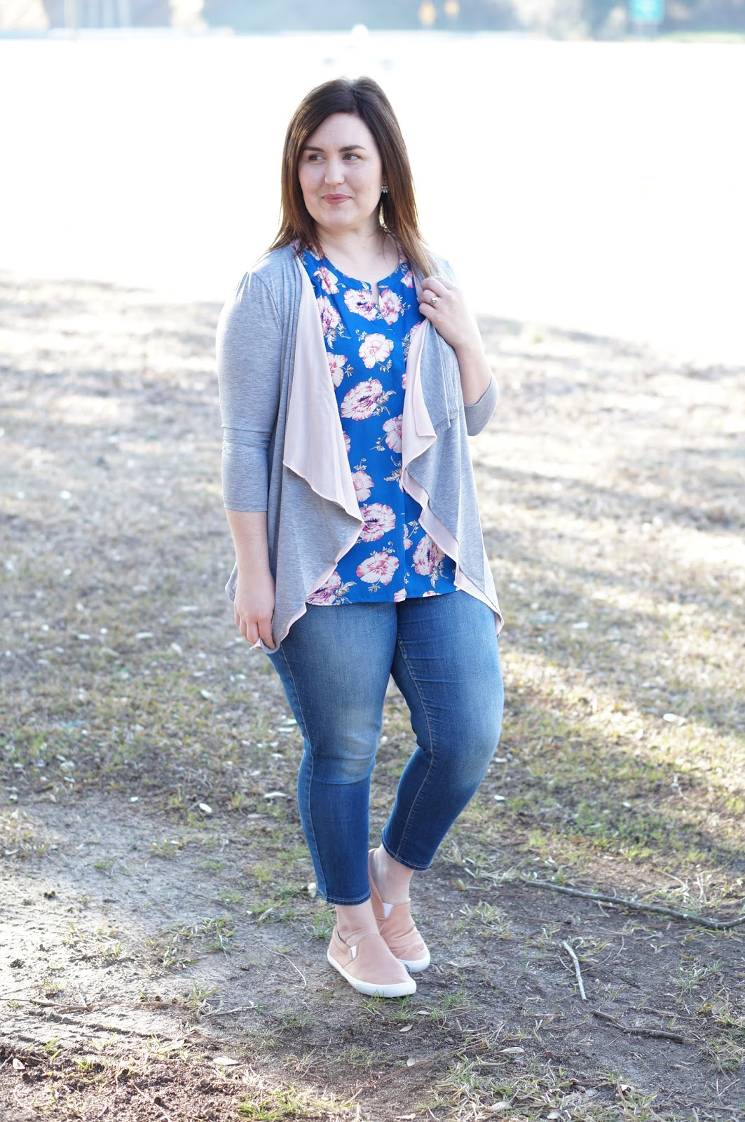 Rebecca Lately Rosegal Patchwork Cardigan Old Navy Rockstar Jeans Old Navy Pink Slip On Sneakers Daniel Rainn Floral Top