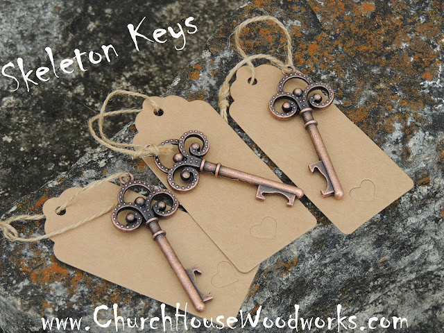 Antique Copper Skeleton Key Bottle Opener with Tags with Heart Shaped Punch-Outs for Rustic Weddings and Party Favors
