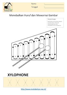Lembar Kerja Paud Menebalkan Huruf X dan Mewarnai Gambar Xylophone