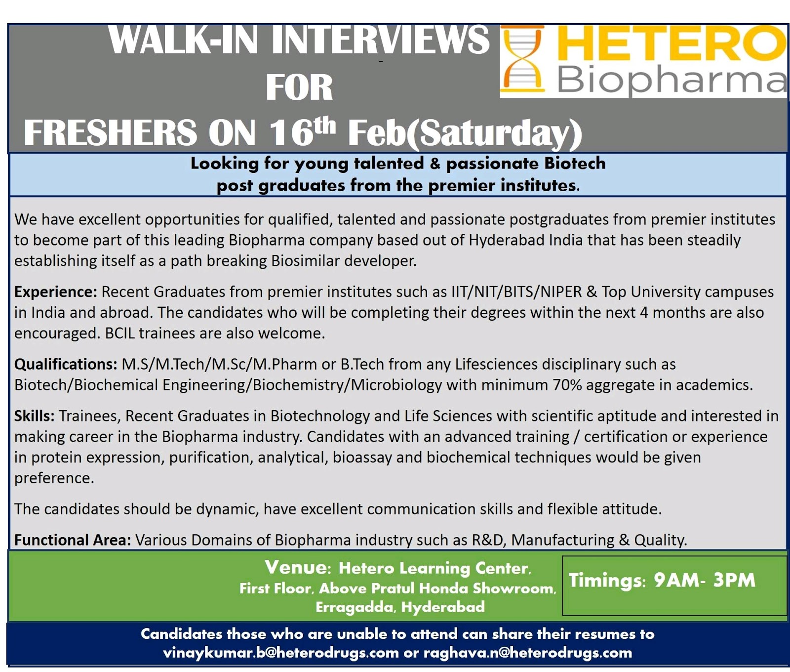 Hetero Biopharma Walk-In Interviews for Freshers on 16th Feb