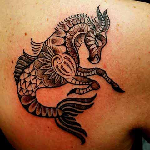 Mandela-Stil Steinbock Tier-tattoos