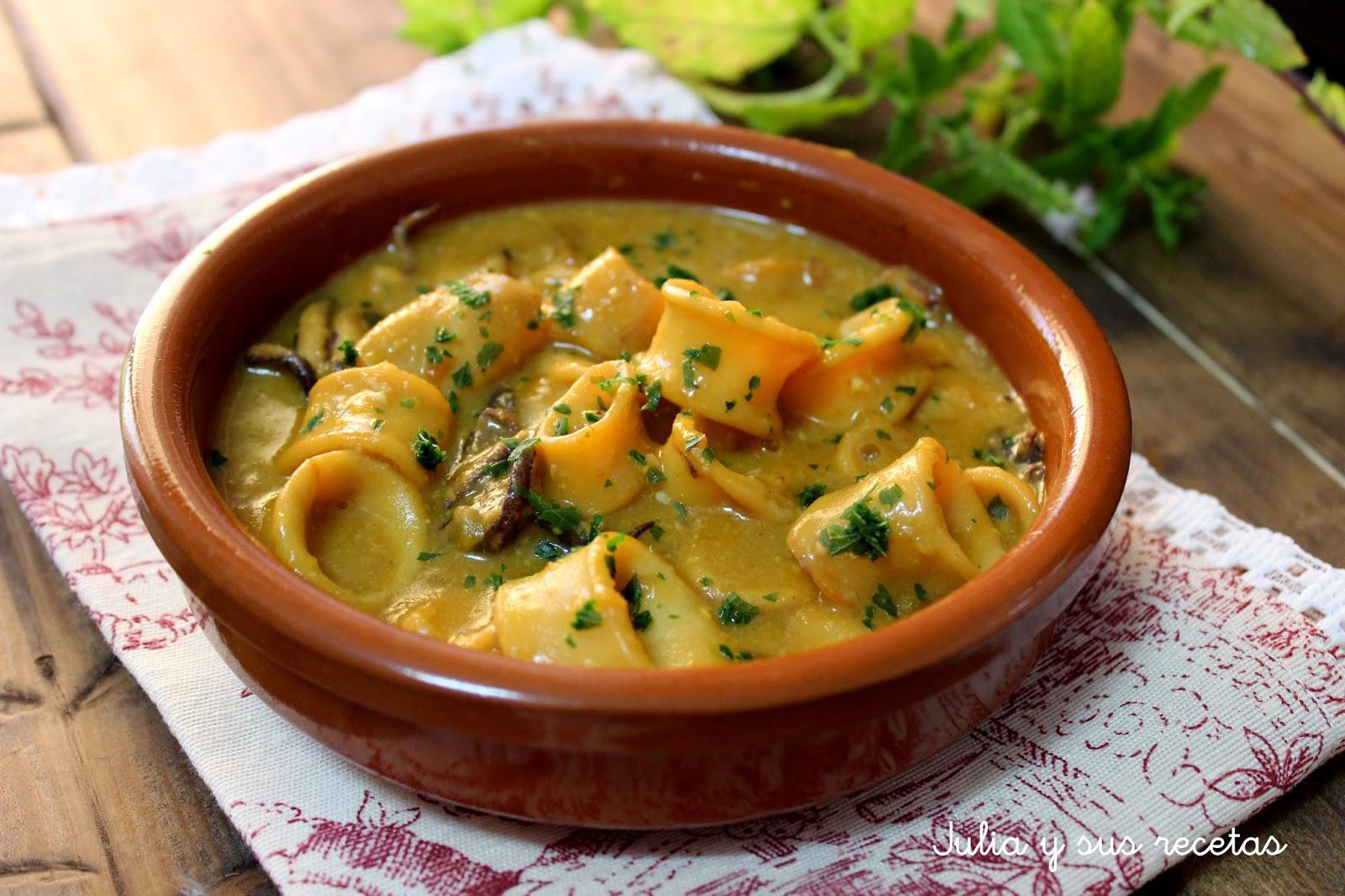 Calamares en salsa de mostaza. Julia y sus recetas
