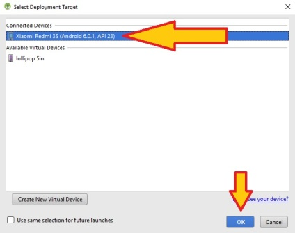 Select Deployment Target, Pilih connected devices di android studio