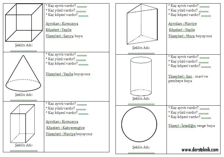 2 Sinif Geometrik Cisimler Calisma Sayfasi Dersteknik Com