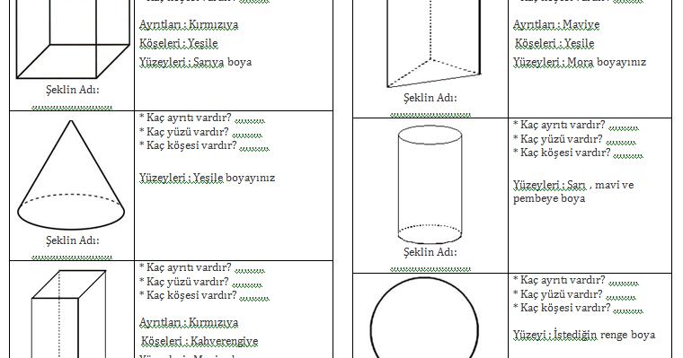 2 Sınıf Geometrik Cisimler çalışma Sayfası Dersteknikcom