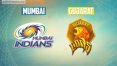 Mumbai Indians (MI) vs Gujarat Lions (GL)