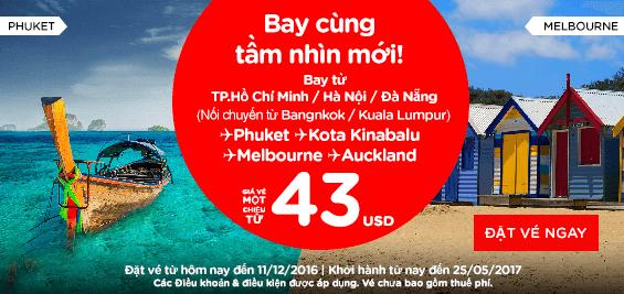 Mừng sinh nhật lần thứ 23 Air Asia giảm giá vé chỉ còn 6 USD