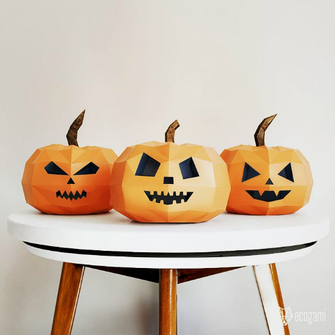 Three DIY papercraft jack-o-lantern models