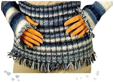 Faja y Puños con flecos tejidos con hilado jaspeado