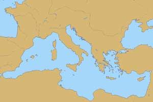 Mapa de las islas mediterráneas con más superficie