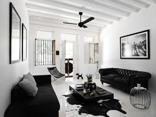 Ruang Tamu Tema Hitam Putih Desain Minimalis Modern