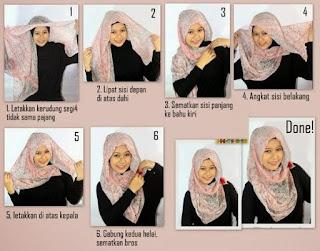 Tutorial hijab pashmina wajah bulat model polkadot