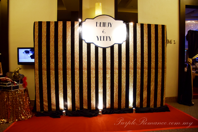wedding gatsby malaysia photo booth backdrop, black and gold, 婚礼装饰, spotlights, black box, red carpet, wedding decorator, vendor, decoration, VIP centerpiece, chair tie back, highlander flowers, gold roses, logo, print,