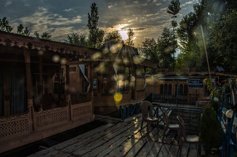Sun rising behind the houseboat