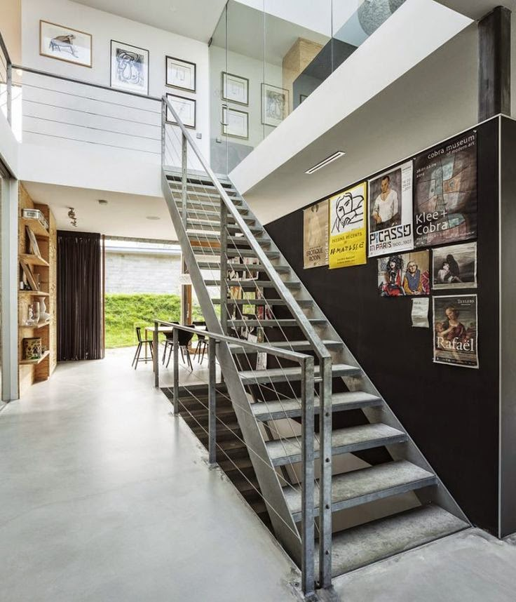 Industrial Home Design Spectacular Modern Industrial Home: 50 Creative Staircase Wall Decorating Ideas, Art Frames