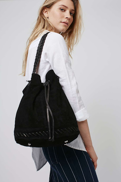 black suede bucket bag, topshop bucket bag,