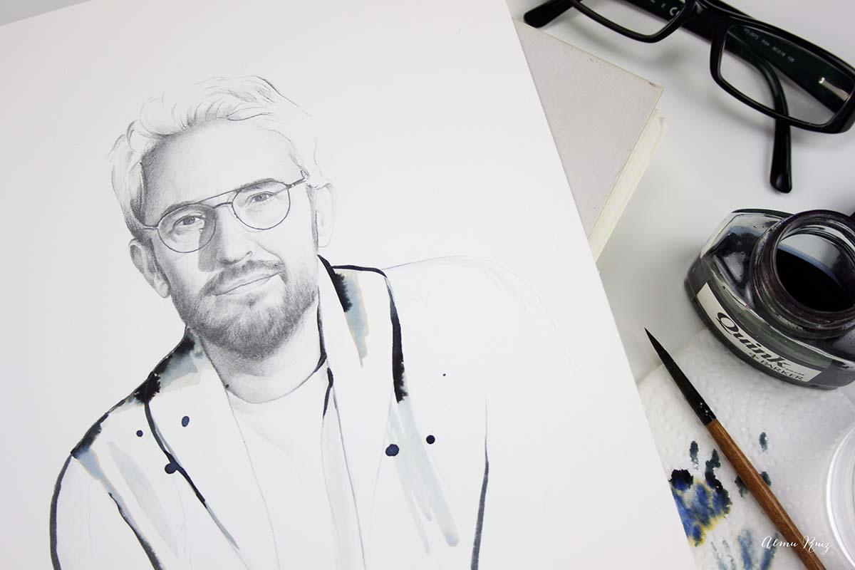 Retrato a lápiz y tinta de Màxim Huerta