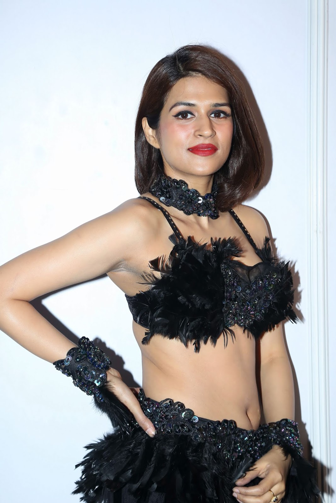 Shraddha Das in Lovely Black Bikini Blouse and Skirt at a Party