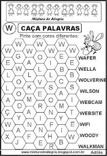 Caça palavras letra W
