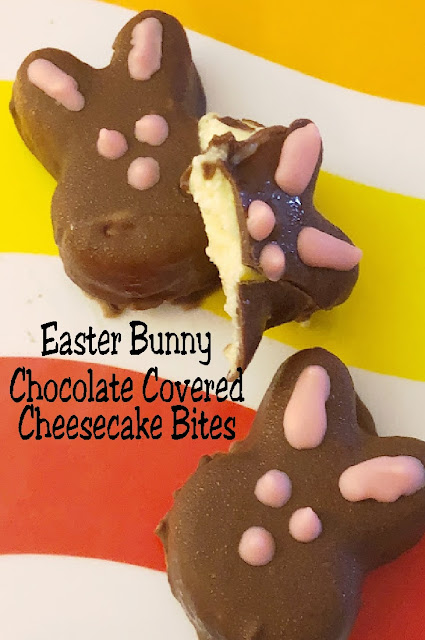 Pop these yummy Easter bunny chocolate covered cheesecake bites in your mouth and you'll be savoring the perfect side of Easter. For what says Easter more than bunnies and chocolate? You'll love how easy and delicious these no bake chocolate cheesecake bites are. #cheesecake #easterbunny #easterdessert #diypartymomblog