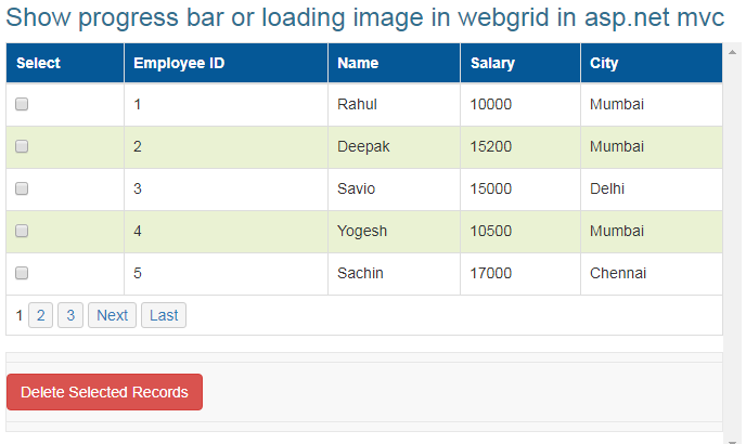 WebGrid on view load
