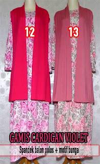 Gamis cardigan panjang motif bunga cantik terbaru 2015 harga murah