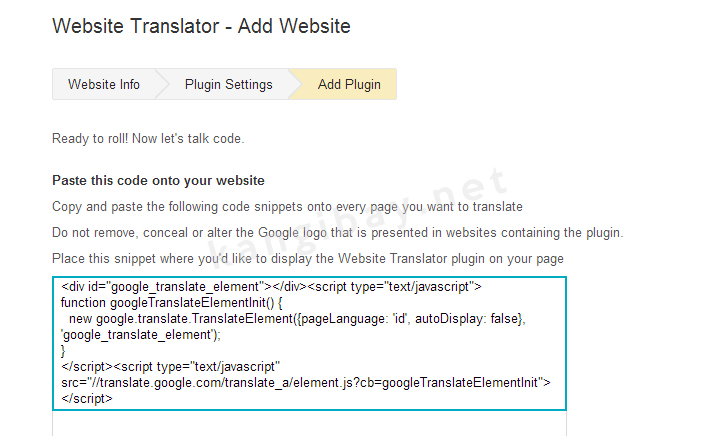 Widget Google Translate