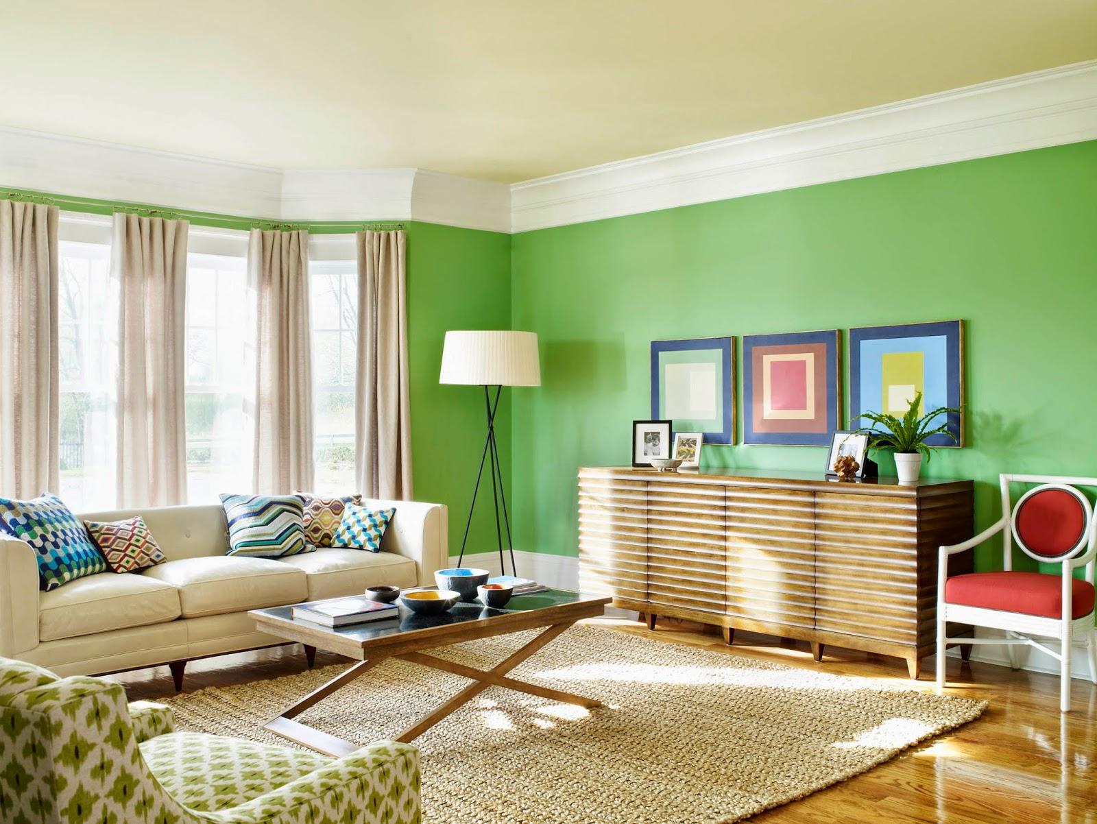 Kombinasi Warna Cat Hijau Ruang Tamu Gambar Desain Rumah Minimalis