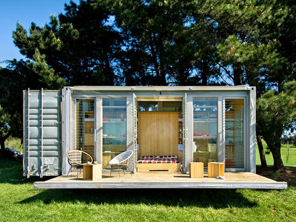 Mobile Home Architecture:: up-cycled port-a-bach shipping container home by atelierworkshop
