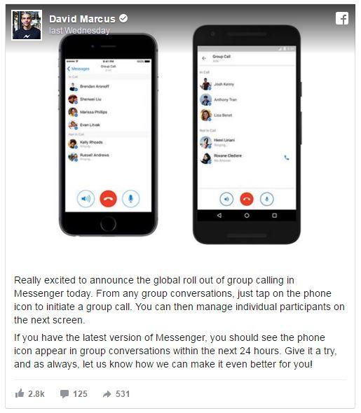 Facebook Messenger Tampil Dengan Fungsi 'Group Call' Untuk 50 Orang.