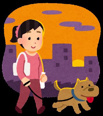 夕方の犬の散歩のイラスト(女性)