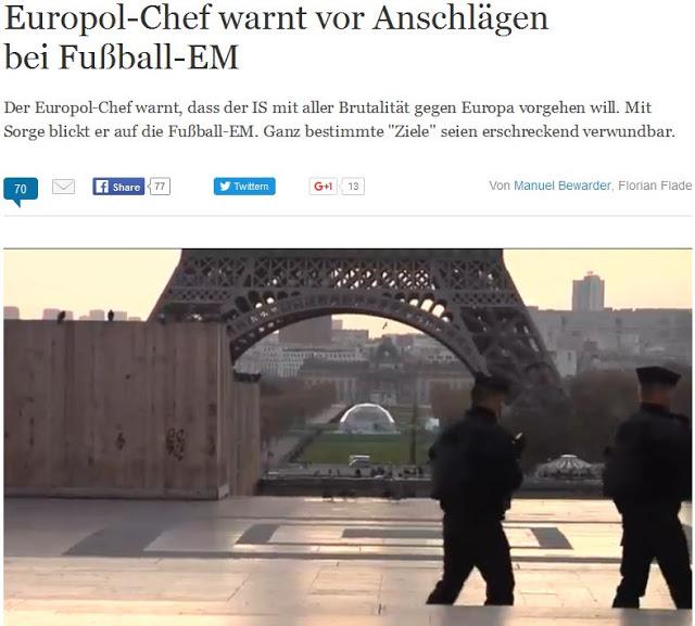Europol: Προειδοποίηση για πιθανές επιθέσεις στους αγώνες Euro 2016 από τζιχαντιστές