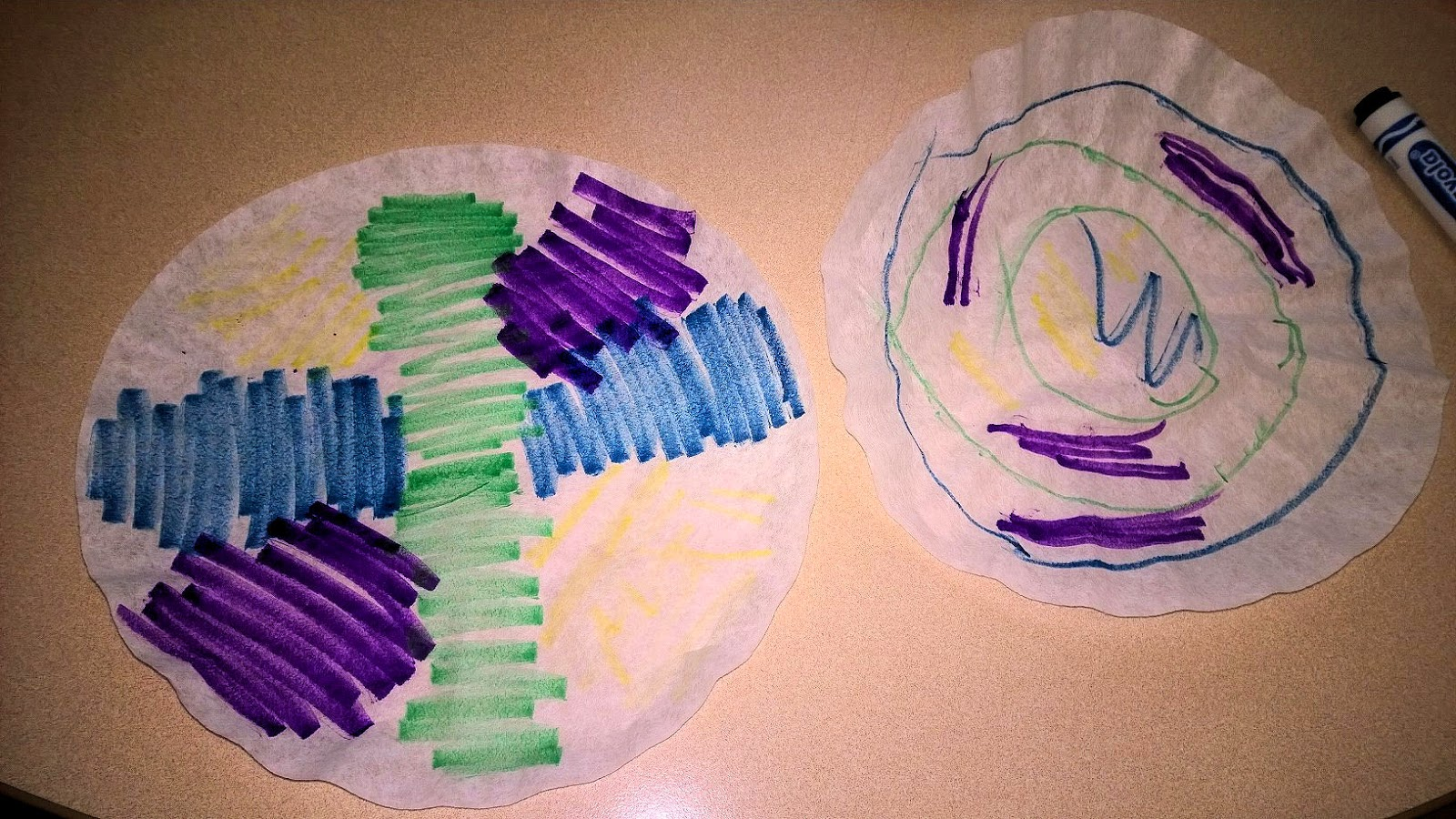 Flatten the coffee filters and color on them with the washable markers