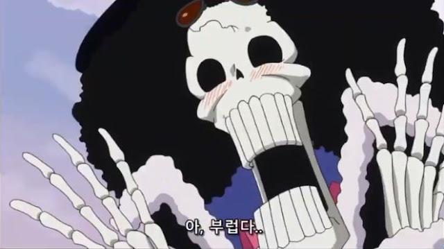 Brook ghen tị trước nụ hôn của luffy với Reiju