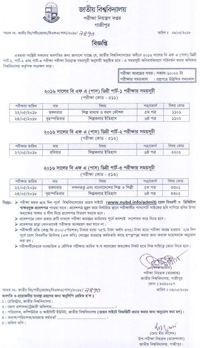 bfa degree pass exam routine 2016
