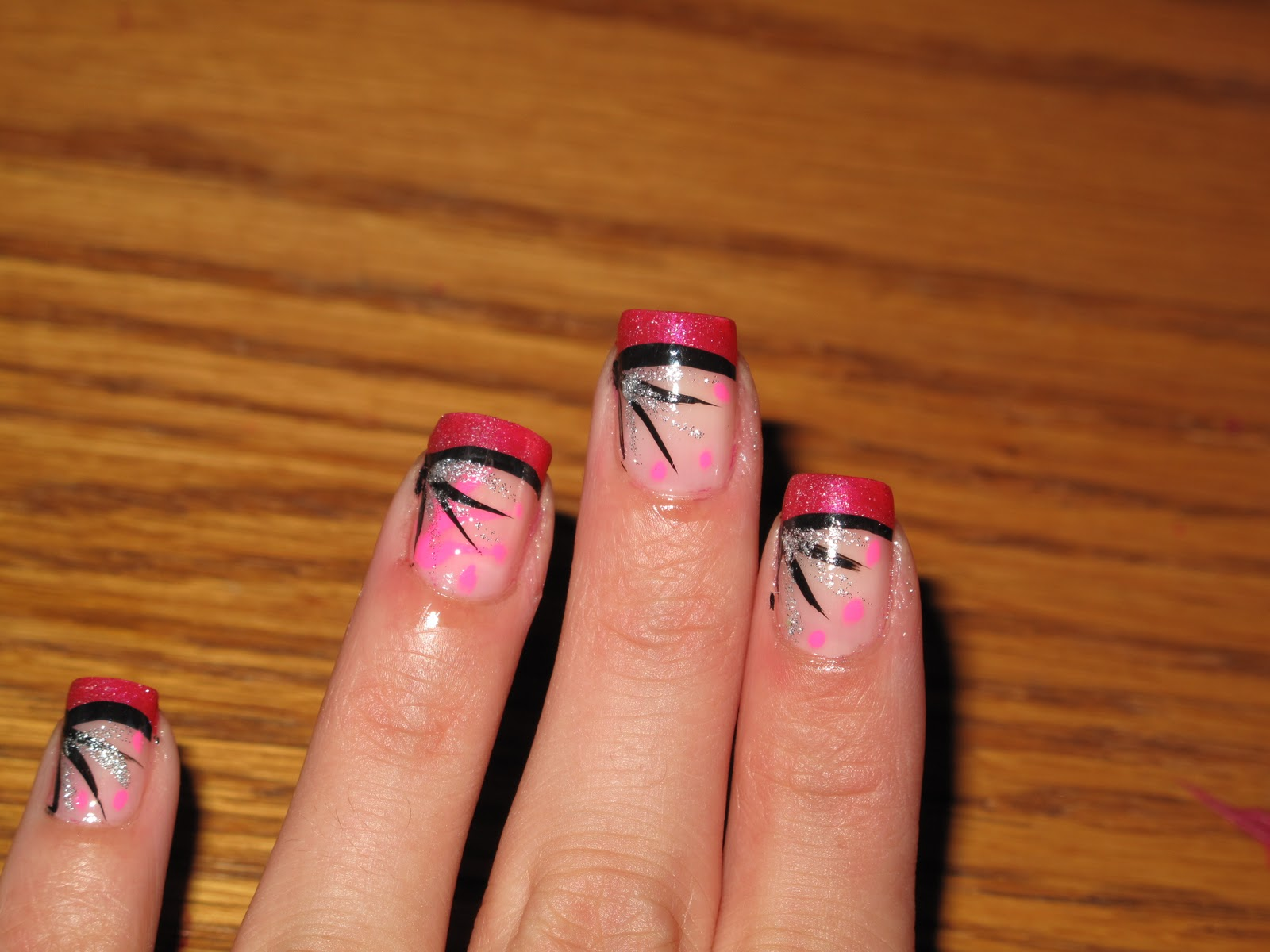 hot pink tip nails - photo #19