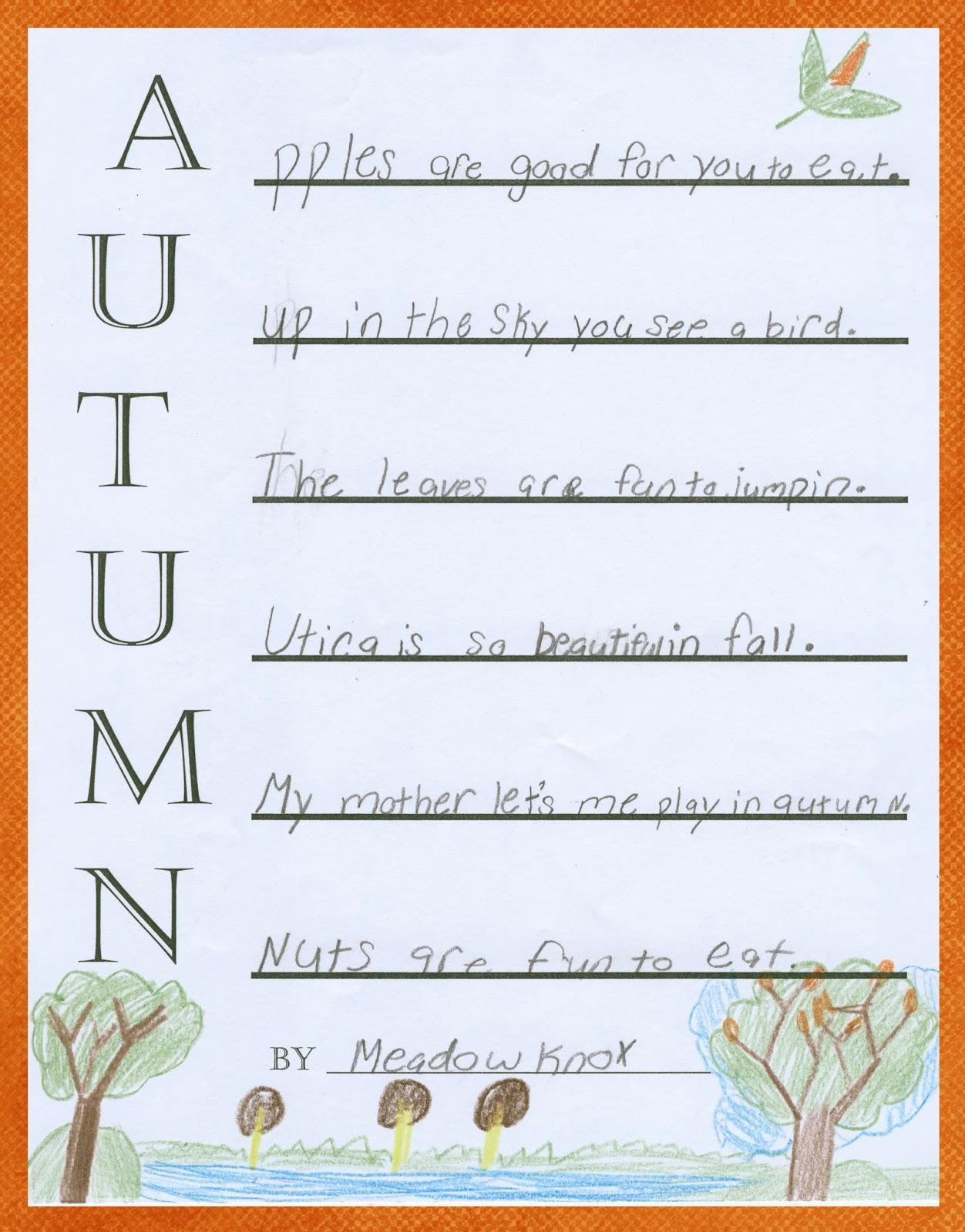 Third Grade Stars Autumn Acrostic Poems
