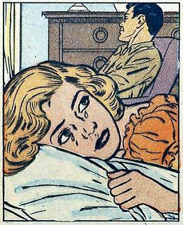 Viñeta. Mujer llorando sobre almohada. Hombre sentado