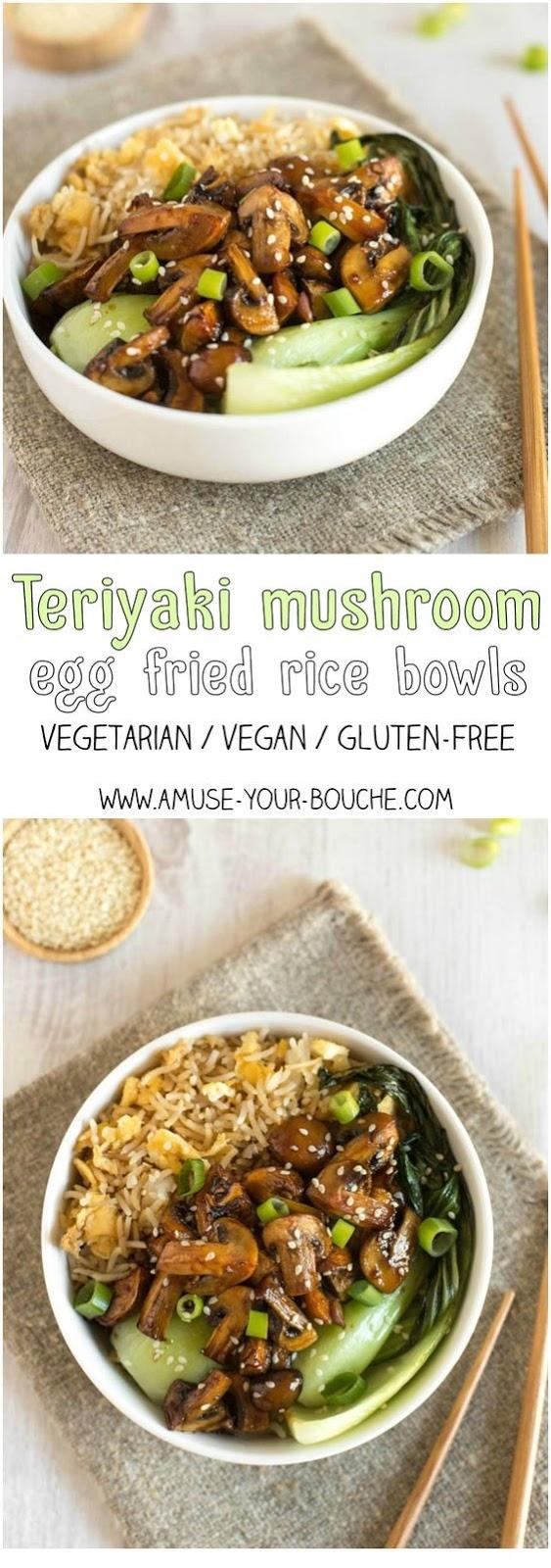 Teriyaki Mushroom Egg Fried Rice Bowls