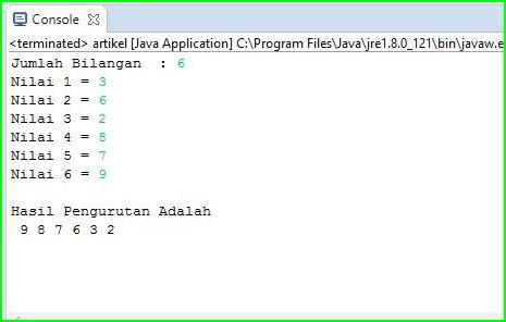 Program Java - Mengurutkan Angka Terbesar ke Terkecil Menggunakan Array