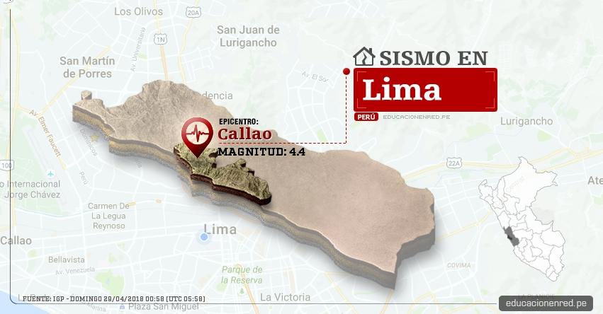 Temblor en Lima de magnitud 4.4 (Hoy Domingo 29 Abril 2018) Sismo EPICENTRO Callao - IGP - www.igp.gob.pe