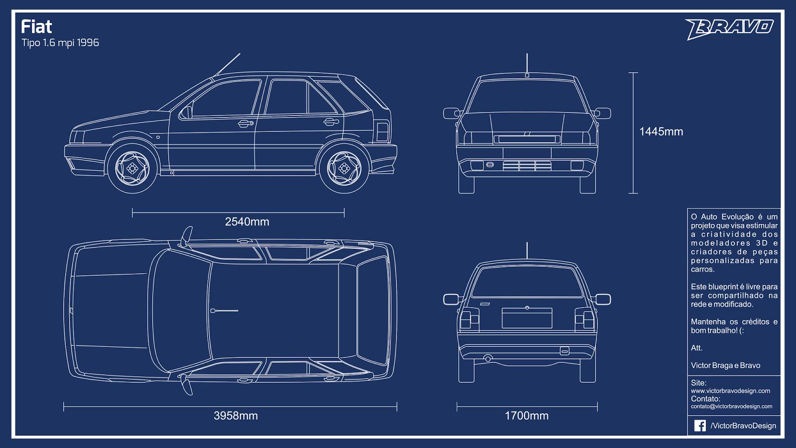 Imagem mostrando o blueprint do Fiat Tipo 1.6 mpi 1996