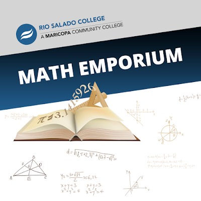 Poster for Math Emporium featuring Rio Salado and Maricopa logos, an image of a book with Pi formula floating off the page and other mathematical symbols in the background