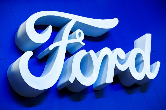FILE PHOTO: The logo of Ford is pictured at the 38th Bangkok International Motor Show in Bangkok, Thailand March 28, 2017. REUTERS/Athit Perawongmetha/File Photo - RTS18CA7