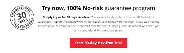Hostinger web hosting services money back guarantee
