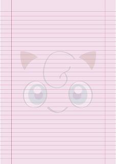 Papel Pautado da Jigglypuff Pokemon PDF para imprimir na folha A4