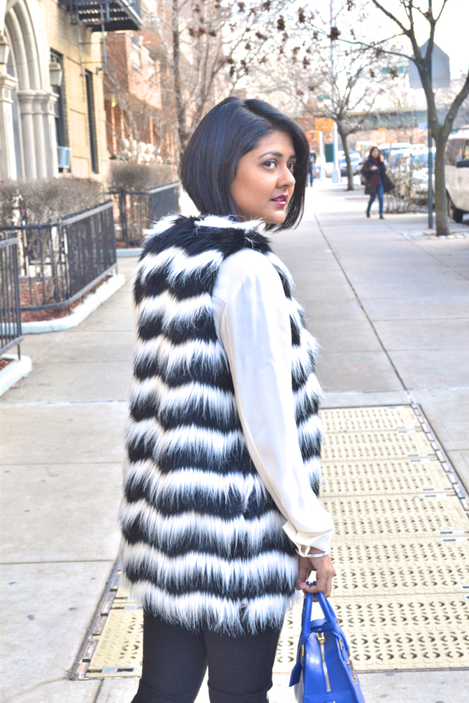 black and white fur vest Mandee stores