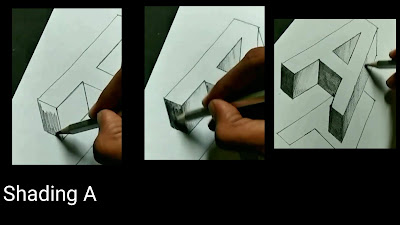 How to shade A, learn to draw A, easy to draw A, drawing for kids, learn to draw'A'