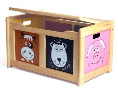 toy chest with barnyard animals